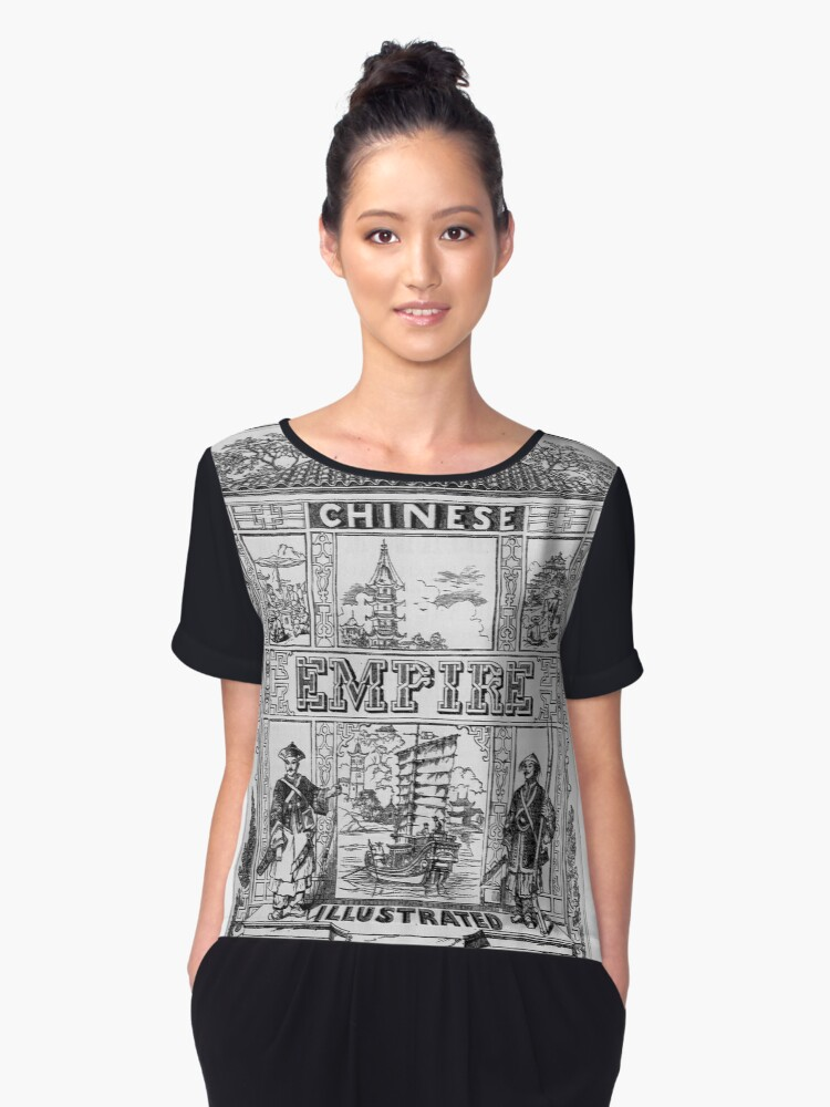 China an Illustrated History - Original Artwork on a Graphic Tee Women's Chiffon Top Front