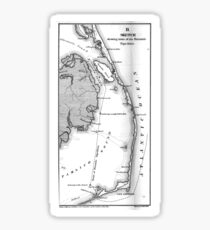 Vintage Map of The Outer Banks (1862) BW  Sticker