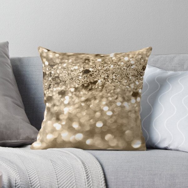 Champagne Gold Lady Glitter #1 #shiny #decor #art Throw Pillow
