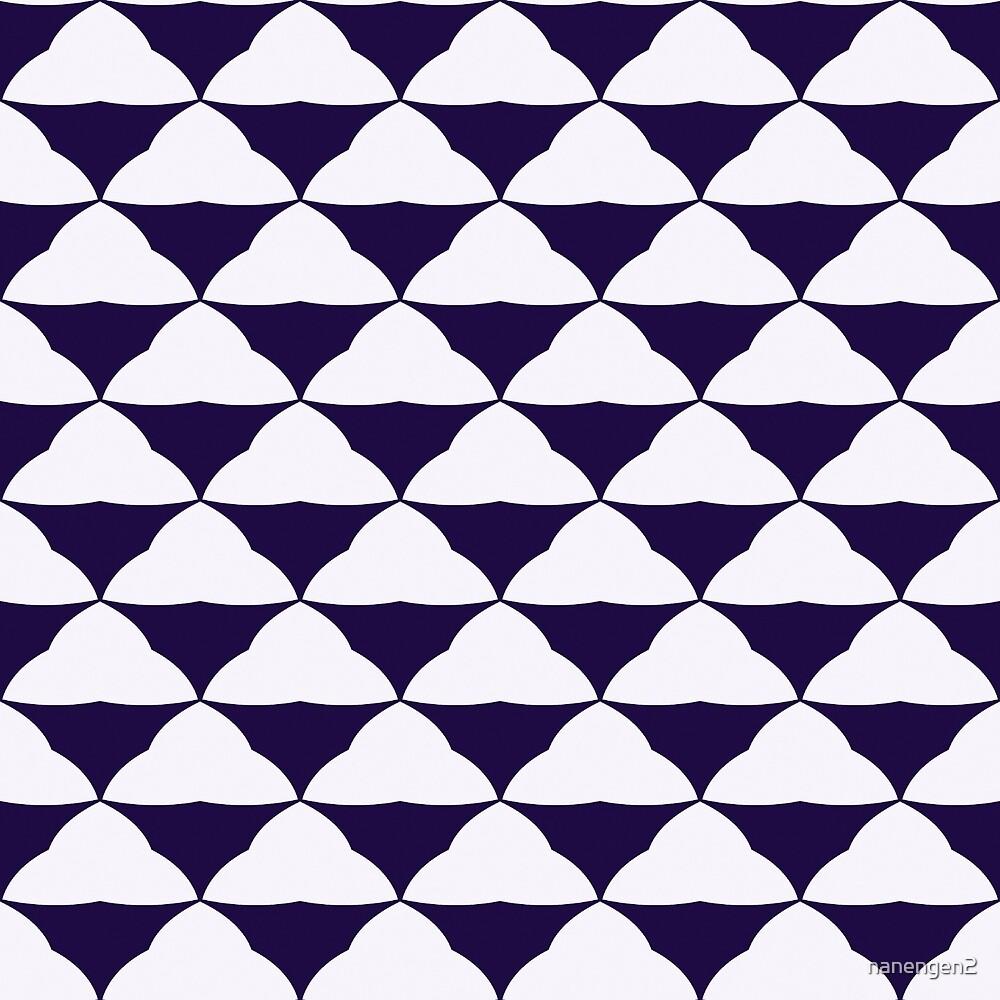 Modern Navy and White Triangle Pattern by nanengen2