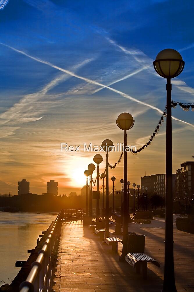 London Sunrise from the Tower Bridge Boardwalk by Rex Maximilian