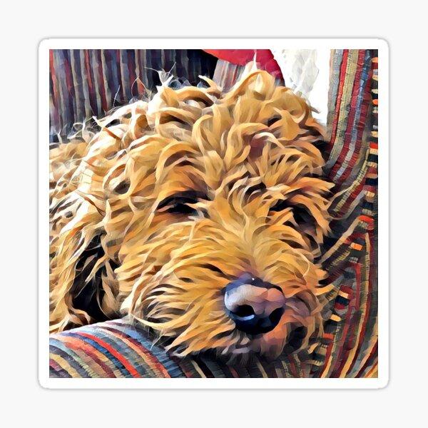 Puppy naps in a chair Sticker