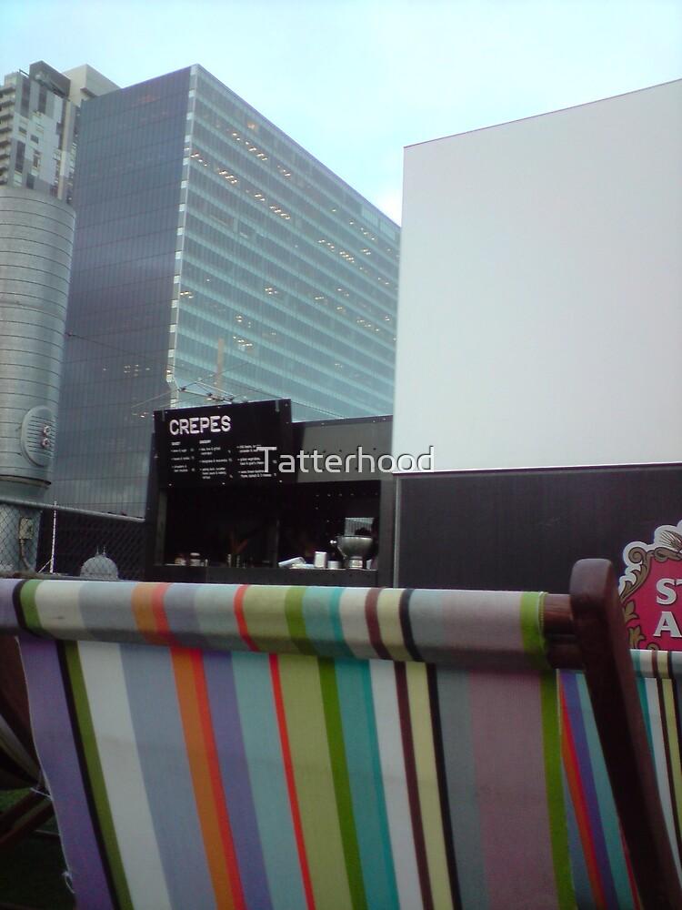 rooftop cinema, deckchair, screen, building, crepebar in daylight by Tatterhood