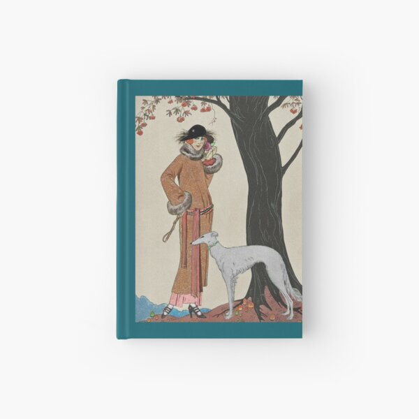 Fashionable Woman with Hound  Hardcover Journal