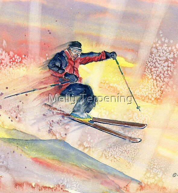 Colorful Skiing Art 2 by Melly Terpening