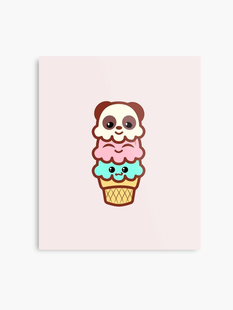 Glace Crème Glacée Cône Femmes Kawaii Mignon Panda Ours Fête Art Impression Métallique