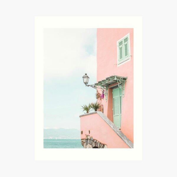 Ocean pink beach house Art Print