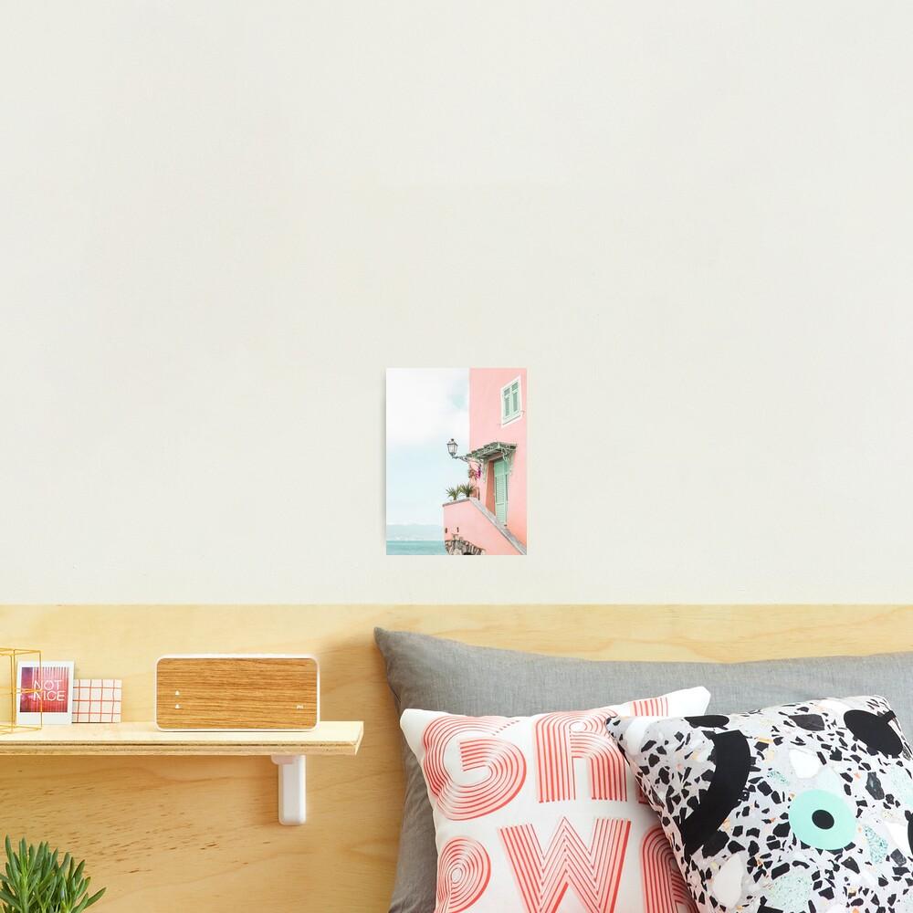 Ocean pink beach house Photographic Print