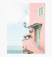Ozean rosa Strandhaus Fotodruck