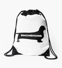 dachshund name silhouette Drawstring Bag