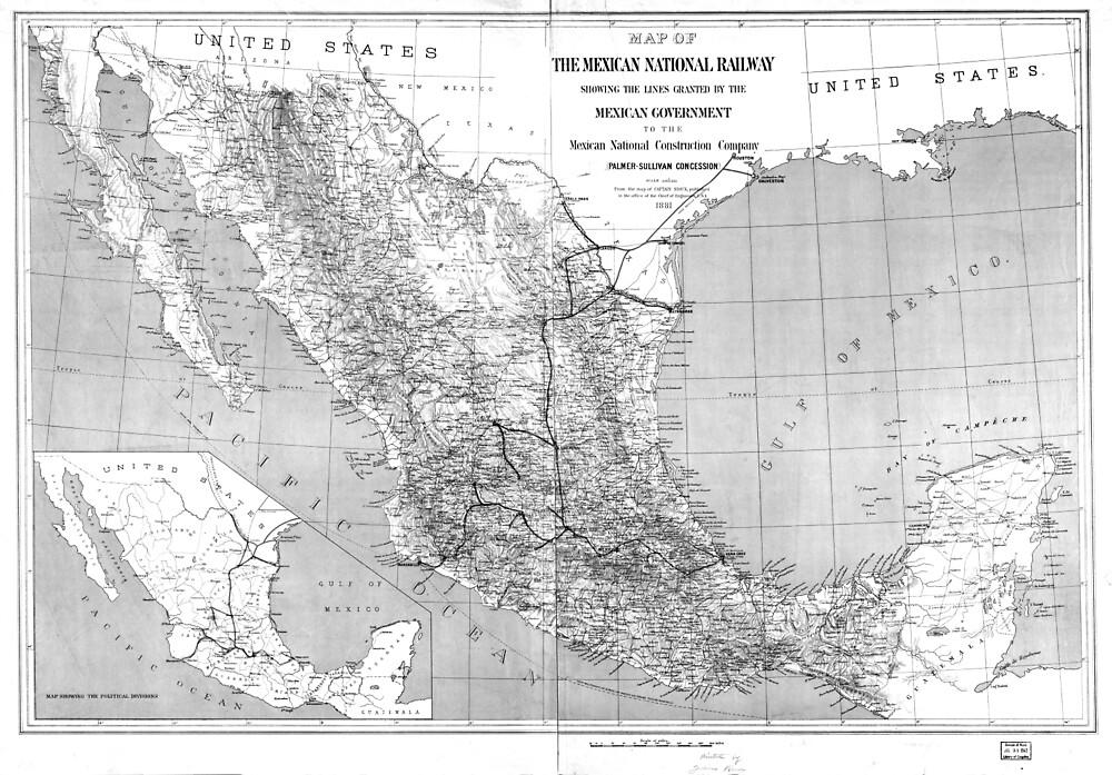 vintage mexico railroad map 1881 bw by bravuramedia redbubble