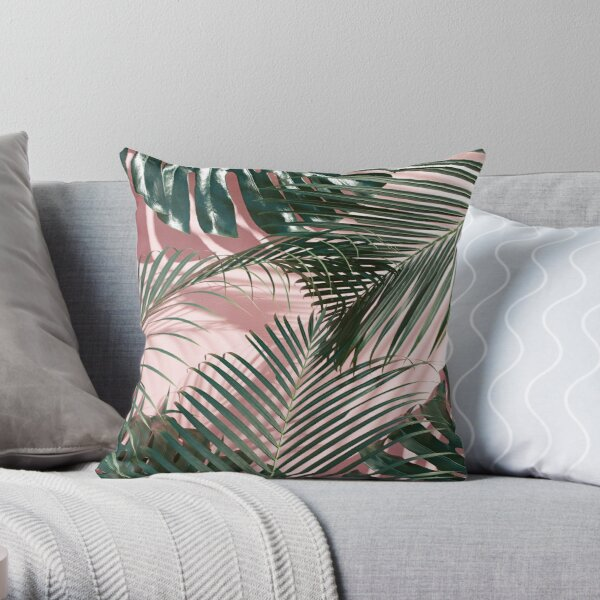 Green tropical leaves on a pink wall | Palm leaves  Throw Pillow