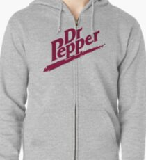 Dr Pepper 90s White Background Zipped Hoodie