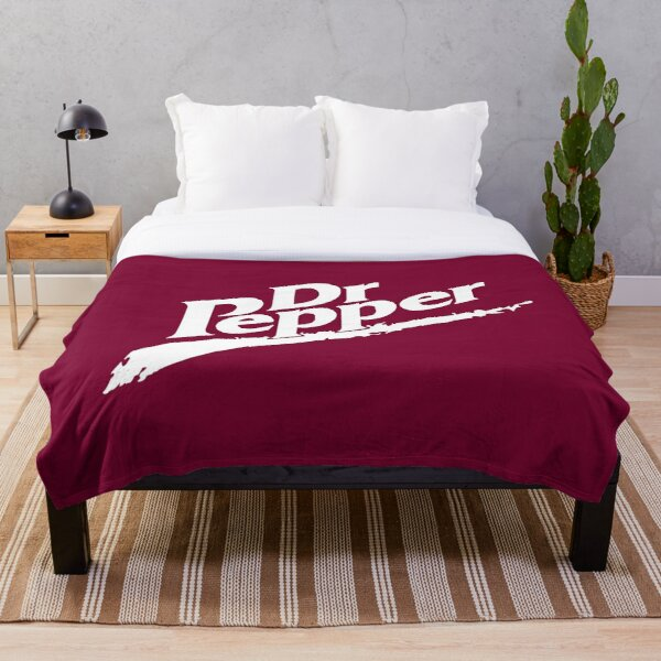 Dr Pepper 90s Maroon Background Throw Blanket