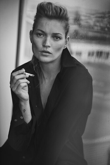 Smoking kate moss black and white photo by natalie digital cloud