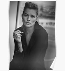 Smoking Kate Moss black and white photo Poster