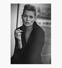 Rauchendes Kate Moss Schwarzweiss-Foto Fotodruck