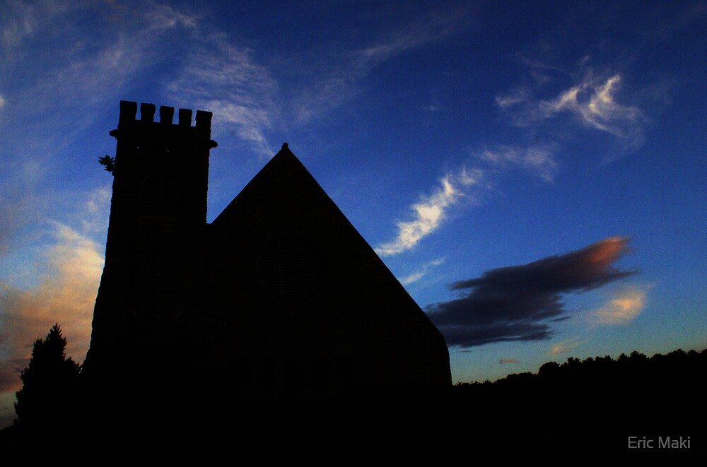 Silhouette of the old stone chuch by Eric Maki