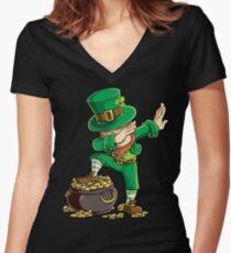 Dabbing Leprechaun T-shirt Funny Dab St Patricks Day Gifts Women's Fitted V-Neck T-Shirt