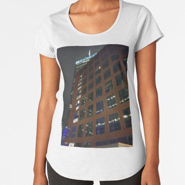 Street, City, Buildings, Photo, Day, Trees, New York, Manhattan, Brooklyn Premium Scoop T-Shirt