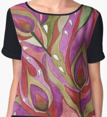 Abstract watercolor pattern . The peacock feather . Chiffon Top