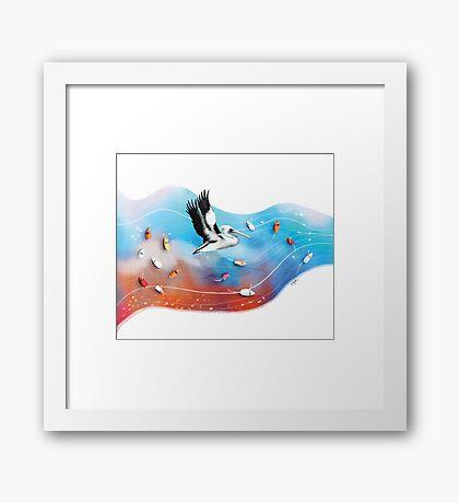 Rainbow Pelican Framed Print
