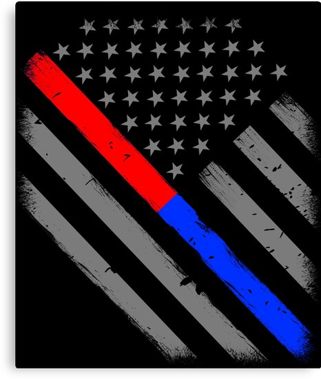 Thin Red Line Thin Blue Line Firefighter Police Flag