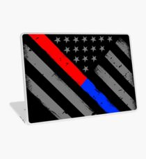 Thin Red Line Thin Blue Line Firefighter Police Flag Laptop Skin