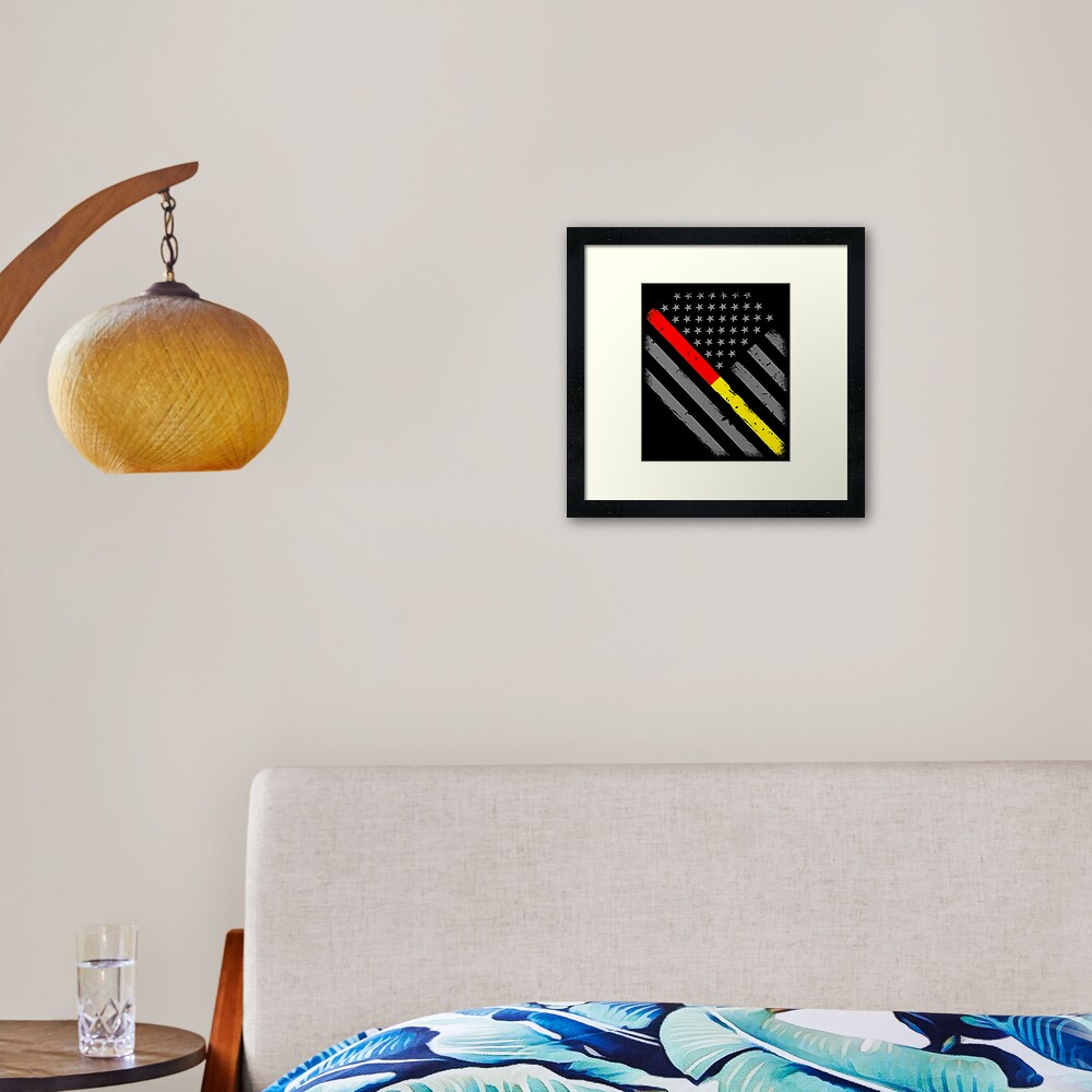 Thin Red Line Firefighter Dispatcher Thin Gold Line Flag Framed