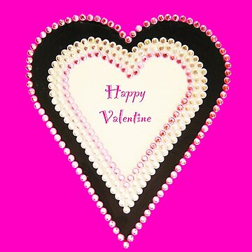 Happy Valentine Pink Beaded Heart  by Heatherian