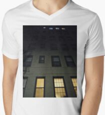 Street, City, Buildings, Photo, Day, Trees, New York, Manhattan, Brooklyn Men's V-Neck T-Shirt