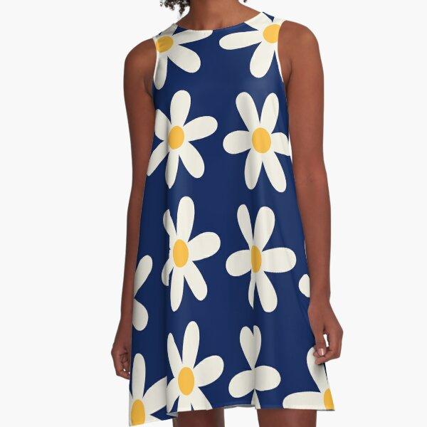 Navy Daisy Pattern A-Line Dress