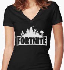 Fortnite Logo Women's Fitted V-Neck T-Shirt