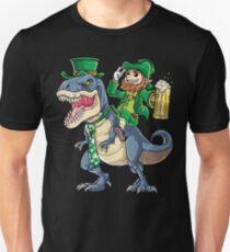 Leprechaun Riding Dinosaur T shirt T rex St Patricks Day Tee Unisex T-Shirt