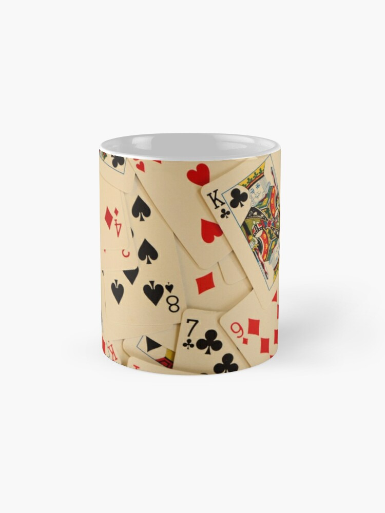 Alternate view of Scattered Pack of Playing Cards Hearts Clubs Diamonds Spades Pattern Mug