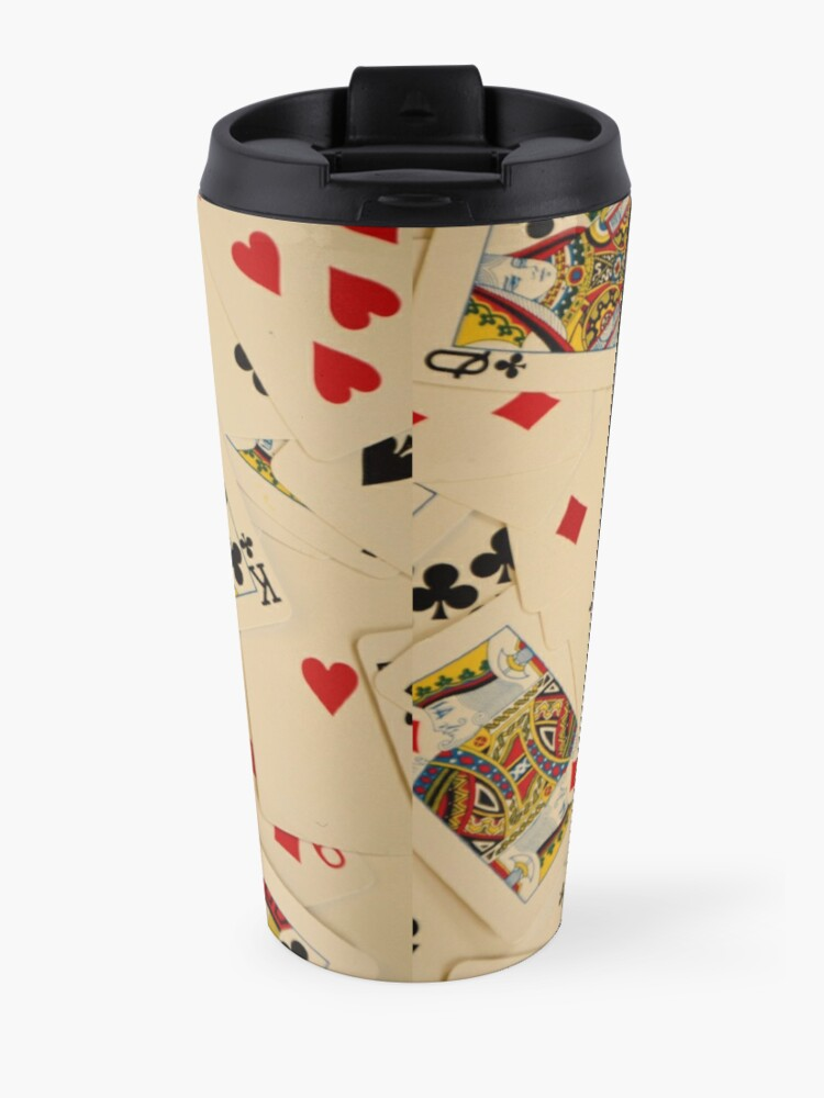Alternate view of Scattered Pack of Playing Cards Hearts Clubs Diamonds Spades Pattern Travel Mug