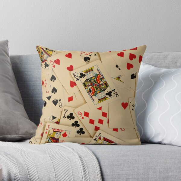 Scattered Pack of Playing Cards Hearts Clubs Diamonds Spades Pattern Throw Pillow