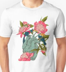 Human heart with flowers Unisex T-Shirt
