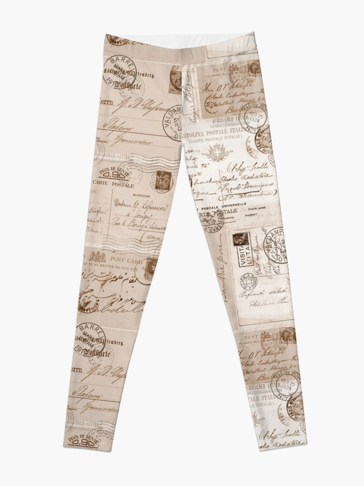 Alternate view of Old Letters Vintage Collage Leggings