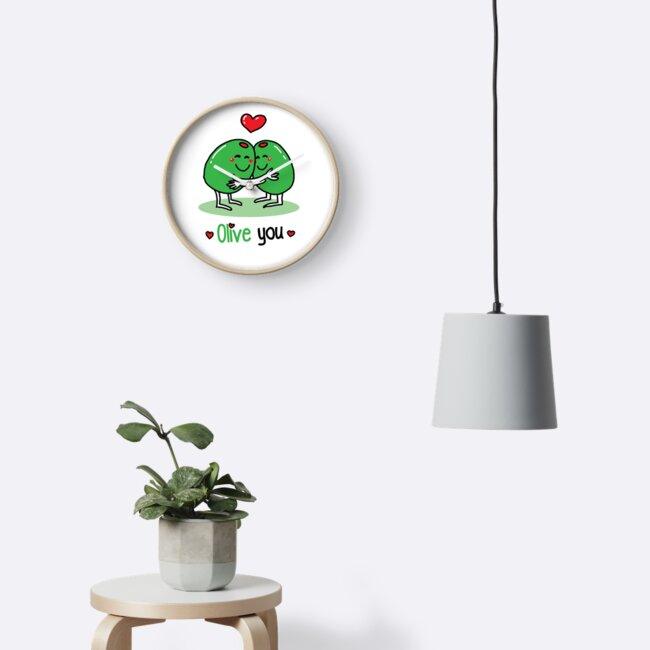 Olive You Valentine S Day Pun Joke Clocks By Spookyruthy Redbubble