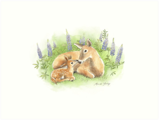 Doe and Fawn Nuzzle in the Lupines by Amanda Francey