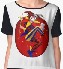 Joker with playing cards and mirror in dark red round frame Chiffon Top