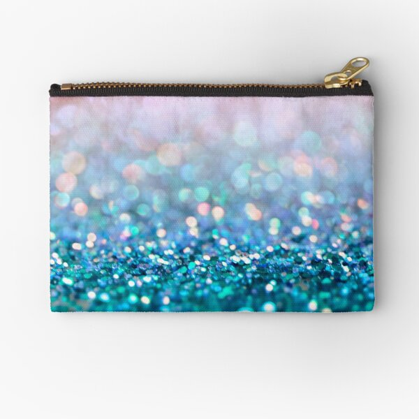 Mermaid Rose Gold and Teal Blush Glitter Zipper Pouch