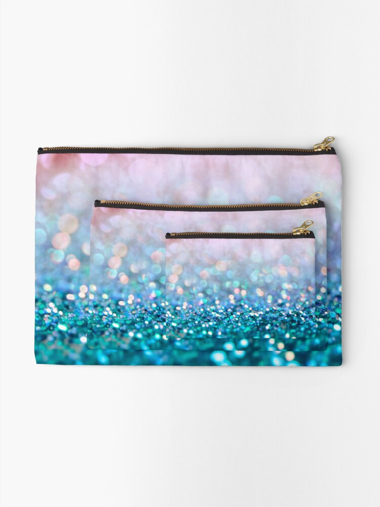 Alternate view of Mermaid Rose Gold and Teal Blush Glitter Zipper Pouch
