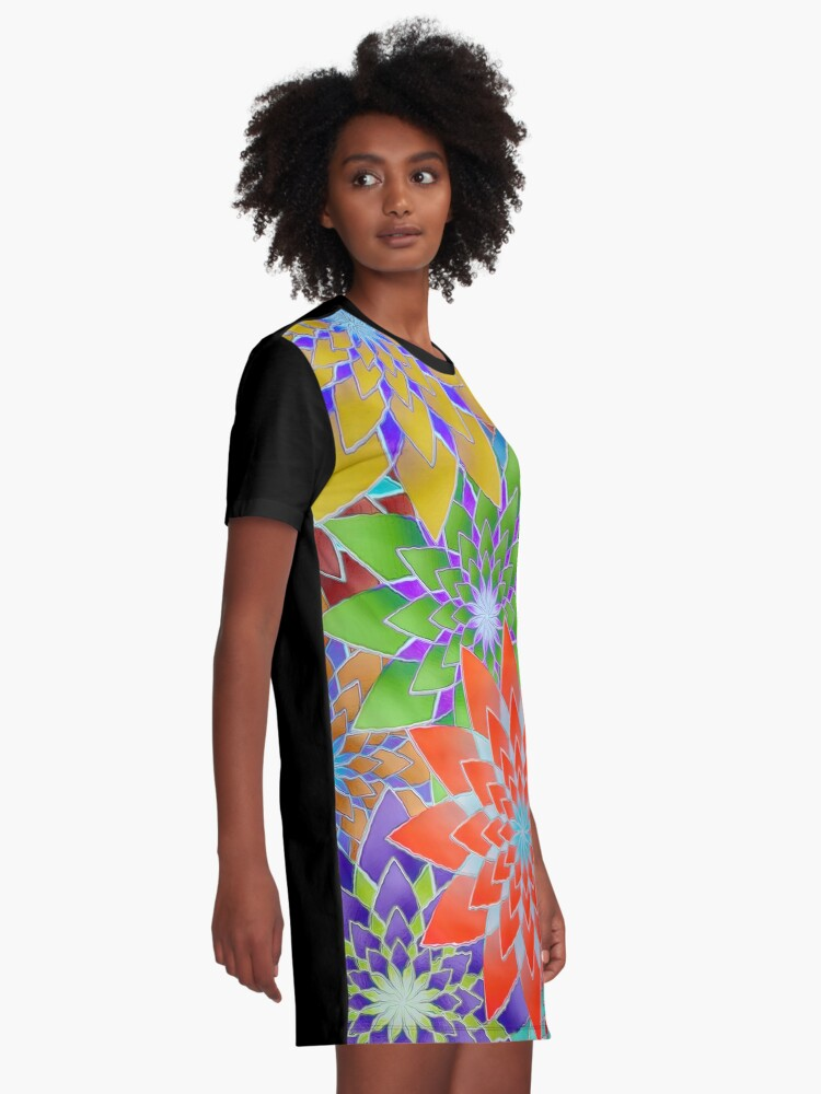 Alternate view of Colorful Geometric Flowers  Graphic T-Shirt Dress