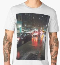 Street, City, Buildings, Photo, Day, Trees, New York, Manhattan, Brooklyn Men's Premium T-Shirt