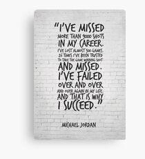 Lienzo Me he perdido más de 9000 disparos ... Michael Jordan Inspirational Quote