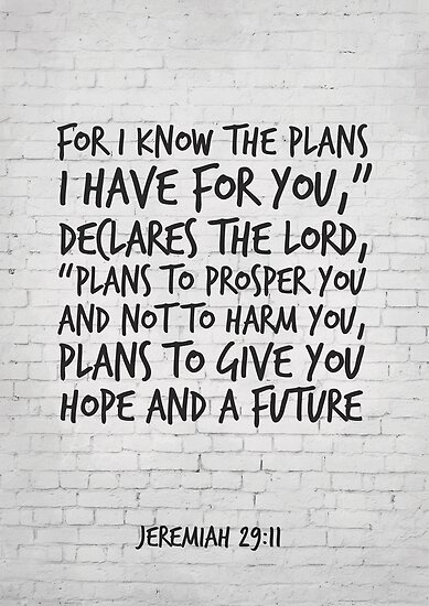 Bible Verse Art Jeremiah 2911 For I Know The Plans I Have For You