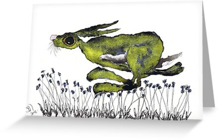 RUNNING HARE  h2173 by Hares & Critters