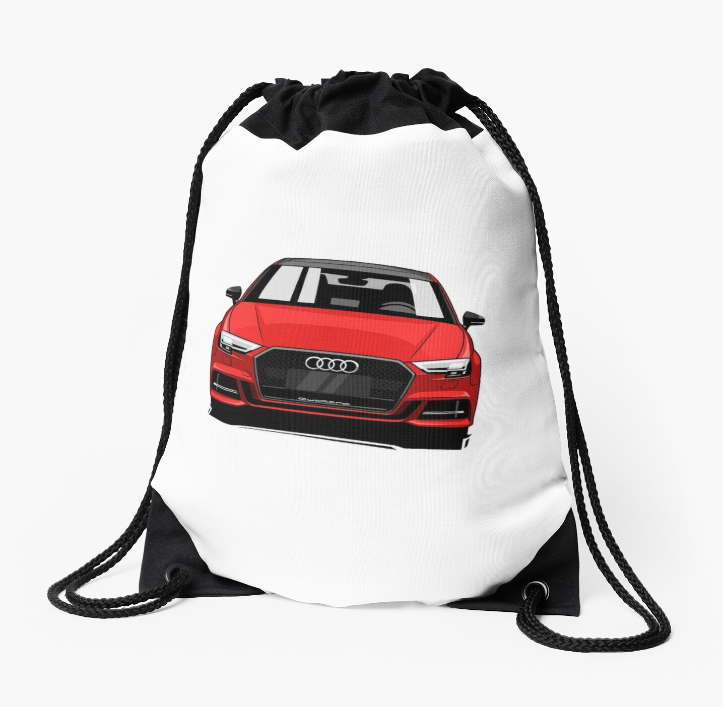 Cartoon Audi S3 Red Sports Car Drawstring Bags By Xever Redbubble